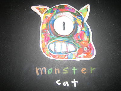 Mixed Media - Monster Cat by Jack Walsh