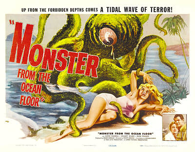 Monster From The Ocean Floor Retro Movie Poster Up From The Forbidden Depths Comes A Tidal Terror Art Print