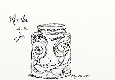 Drawing - Monster In A Jar by John Stillmunks