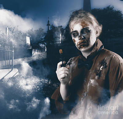 Photograph - Monster In Cemetery Holding Gun. Grave Robber by Jorgo Photography - Wall Art Gallery