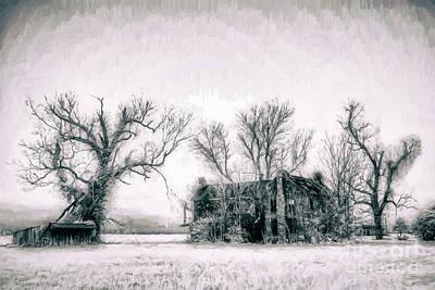 Abandoned House Digital Art - Monster Manor On The Outer Banks Ap by Dan Carmichael