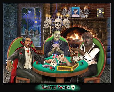 Haunted House Digital Art - Monster Poker by Glenn Holbrook