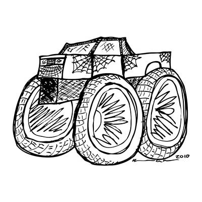 Monster Truck Art Print by Karl Addison
