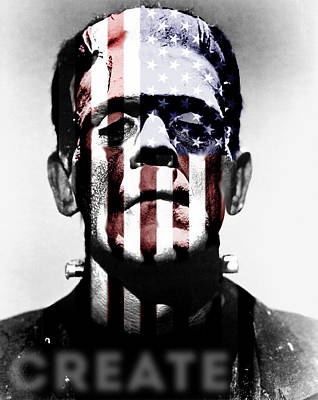 Frankenstein Digital Art - Monster Usa by Create Art