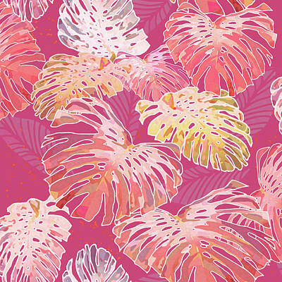 Digital Art - Monstera Jungle On Cerise by Karen Dyson