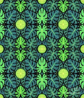 Lemon Mixed Media - Monstera Leaves Pattern by Julia Khoroshikh