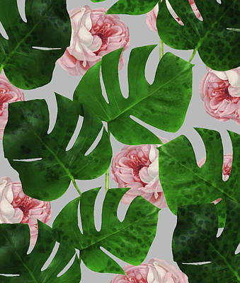 Monstera Rose Pattern Art Print