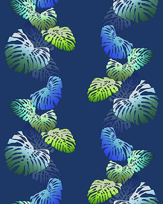 Digital Art - Monstera Vine Indigo by Karen Dyson