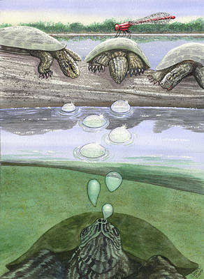 Dragonfly Pond Painting - Monsters by Catherine G McElroy