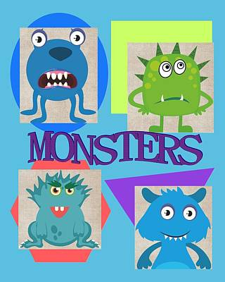 Adorable Digital Art - Monsters by Nicole Rashid