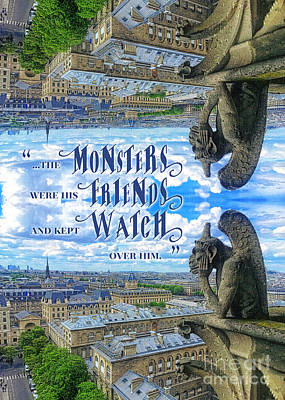 Photograph - Monsters Were His Friends Notre-dame Paris Gargoyle by Beverly Claire Kaiya