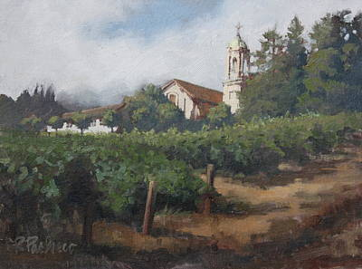 Vineyard In Napa Painting - Mont La Salle by Rita Pacheco