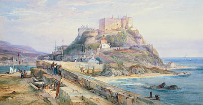 Beach Landscape Drawing - Mont Orgueil Castle by Richard Principal Leitch