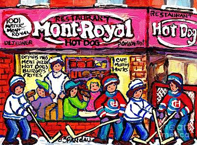 Painting - Mont Royal Hotdog Restaurant Painting Montreal Winter Scene Canadian Hockey Art                    by Carole Spandau