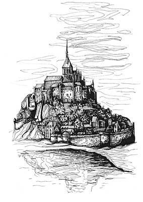 Cathedral Rock Drawing - Mont-saint-michel by Katerina Kopaeva