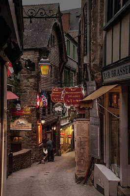 Photograph - Mont-st-michel, Grand Rue At Night by Ted Lang