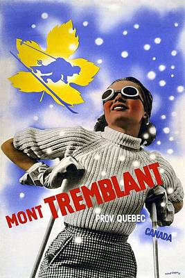Mixed Media - Mont Tremblant - Province Quebec - Canada - Retro Travel Poster - Vintage Poster by Studio Grafiikka
