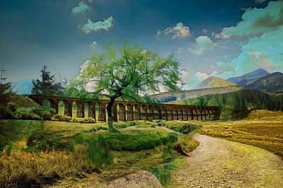 Digital Art - Montage Ribblehead Viaduct England by Clive Littin
