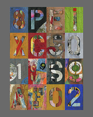 Mixed Media - Numbers And Letters Montage by Robert Cattan