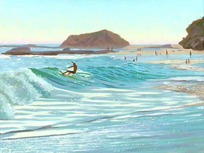 Laguna Beach Wall Art - Painting - Montage Skimboarder by Steve Simon