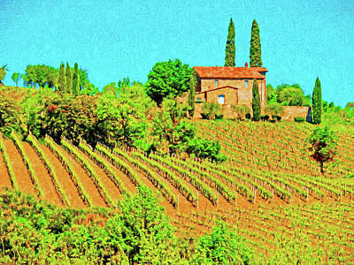 Digital Art - Montalcino Farm by Dennis Cox WorldViews