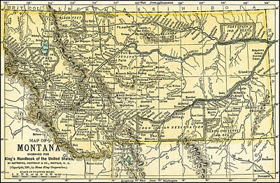 Photograph - Montana Antique Map 1891 by Phil Cardamone