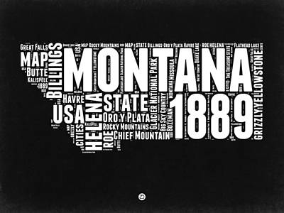 North America Digital Art - Montana Black And White Map by Naxart Studio