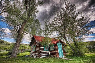 Painting - Montana Cabin by Joe Sparks
