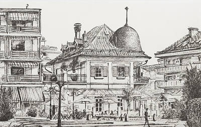 Architecture Drawing - Montana  Crans Montana Switzerland Le Farinet by Vincent Alexander Booth