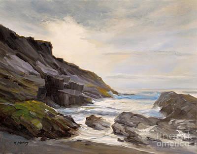 California Seascape Painting - Montana De Oro - Spooners Cove Sunset by Karen Winters