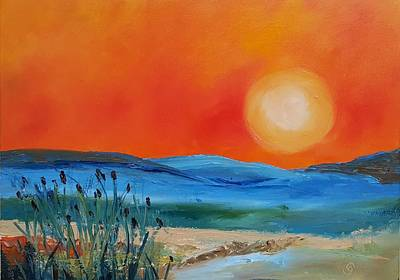 Painting - Montana Firery Sunset             49 by Cheryl Nancy Ann Gordon