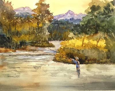 Painting - Montana Fly Fishing by Larry Hamilton