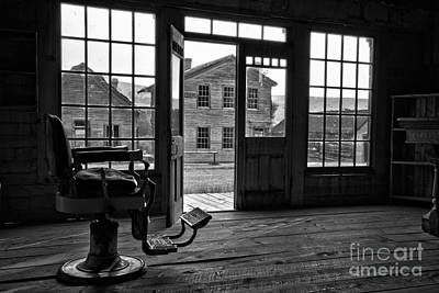 Photograph - Montana Ghost Town Barber Chair Black And White by Adam Jewell