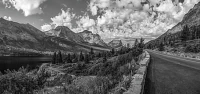 Featured Tapestry Designs - Montana Going to the Sun Road Black and White  by John McGraw
