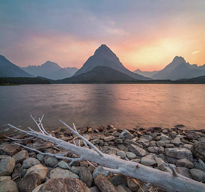 Sunset Photograph - Montana Gold // Swiftcurrent Lake, Glacier National Park  by Nicholas Parker