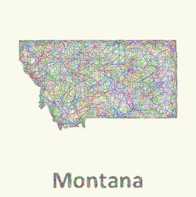 State Of Montana Digital Art - Montana Line Art Map by David Zydd