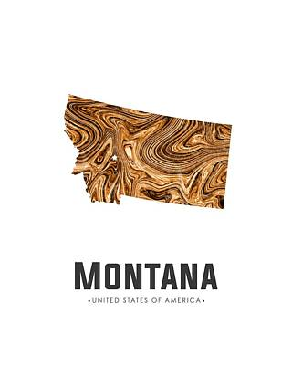 Montana Map Art Abstract In Brown Art Print