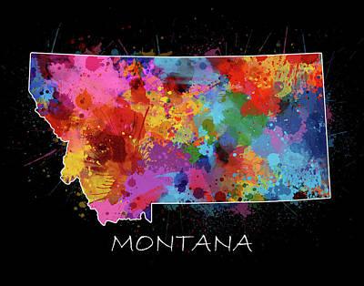 Montana Map Digital Art - Montana Map Color Splatter 2 by Bekim Art