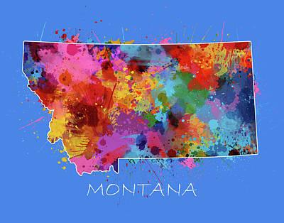 Montana Map Digital Art - Montana Map Color Splatter 3 by Bekim Art