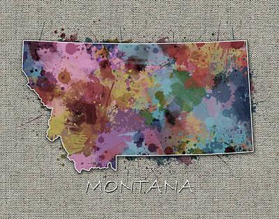 Montana Map Digital Art - Montana Map Color Splatter 5 by Bekim Art