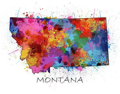 Montana Map Digital Art - Montana Map Color Splatter by Bekim Art