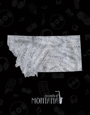 Montana Map Digital Art - Montana Map Music Notes 2 by Bekim Art