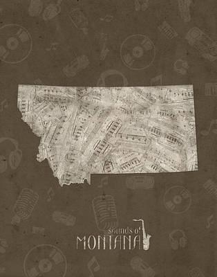 Montana Map Digital Art - Montana Map Music Notes 3 by Bekim Art