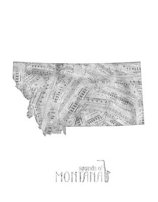 Montana Map Digital Art - Montana Map Music Notes by Bekim Art