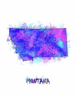 Montana Map Digital Art - Montana Map Watercolor 2 by Bekim Art