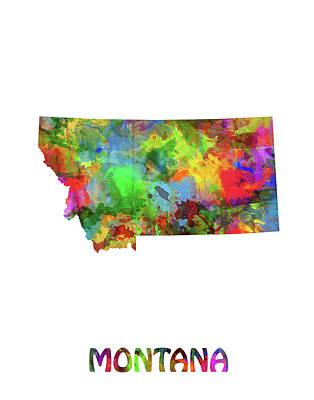 Montana Map Digital Art - Montana Map Watercolor by Bekim Art