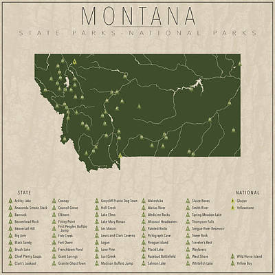 State Of Montana Digital Art - Montana Parks by Finlay McNevin