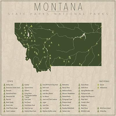 Yellowstone Digital Art - Montana Parks by Finlay McNevin
