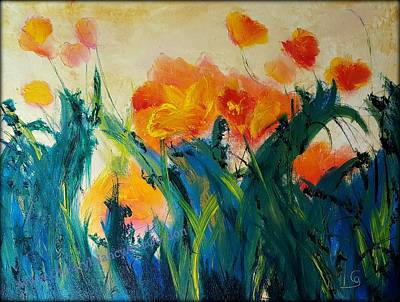 Painting - Montana Poppies Abstract Original Oil         32 by Cheryl Nancy Ann Gordon