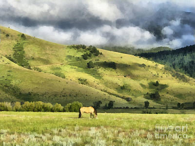 Pasture Digital Art - Montana Ranch Landscape by Edward Fielding